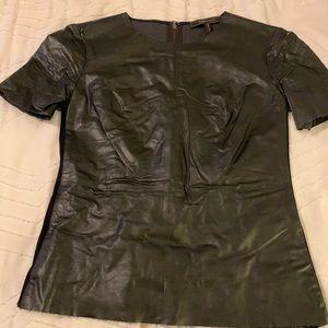BCBG leather short sleeve top